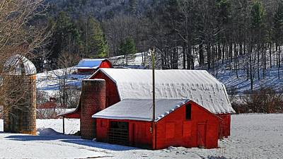 Red Barn In Winter Photograph - Red Barns And Silo In Snow  by Carol R Montoya