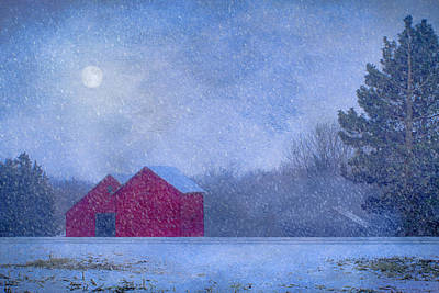 Snowy Night Photograph - Red Barns In The Moonlight by Nikolyn McDonald