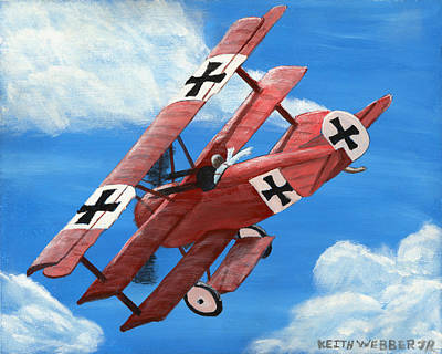 Red Barron Fokker Dr.1 Triplane Painting Art Print by Keith Webber Jr