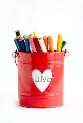 Photograph - Red Basket With Heart And Many Color Pencils And With The Word by Yana Shonbina