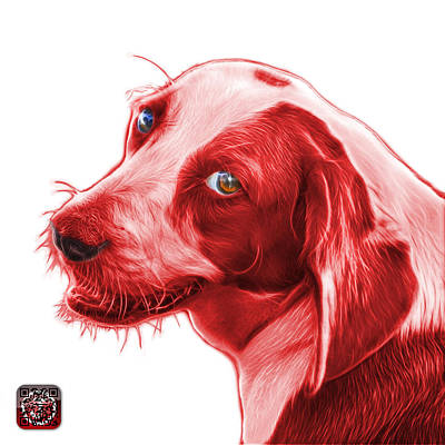 Painting - Red Beagle Dog Art- 6896 -wb by James Ahn