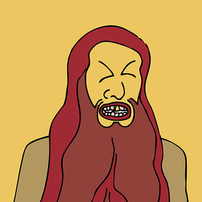 Graphic Drawing - Red Bearded Man by Karl Addison