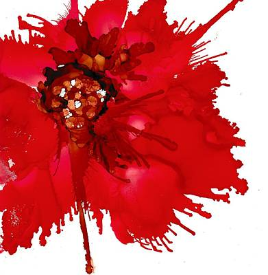 Alcohol Ink Wall Art - Painting - Red Beauty by Louise Adams