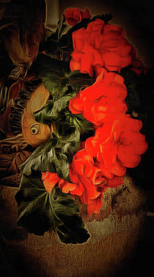 Print featuring the photograph Red Begonias by Thom Zehrfeld