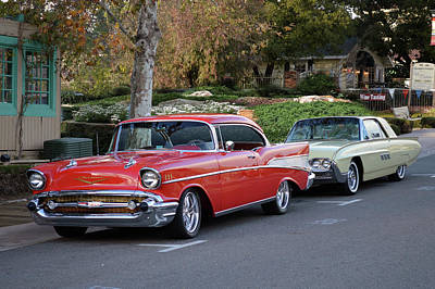 Photograph - Red Bel Air Yel Tbird by Bill Dutting