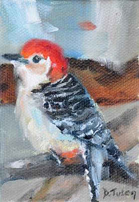 Bird Painting - Red-headed Woodpecker by Donna Tuten