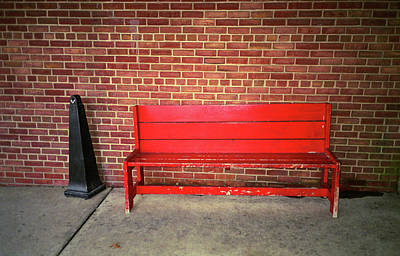 Photograph - Red Bench Behind Stop And Shop 2018 by Frank Romeo