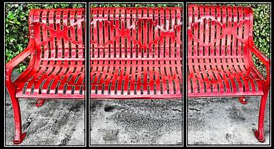 Photograph - Red Bench by Bill Howard