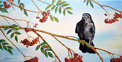 Painting - Red Berries And The Crow by Patricia L Davidson