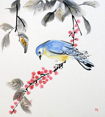 Brush Painting - Red Berries Blue Bird by Fumiyo Yoshikawa