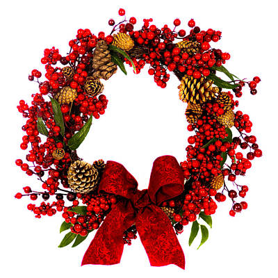 Red Berry And Pine Cone Wreath With Bow Original by Lynne Albright