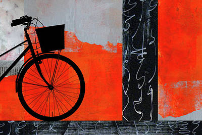 Digital Art - Red Bicycle Art by Nancy Merkle