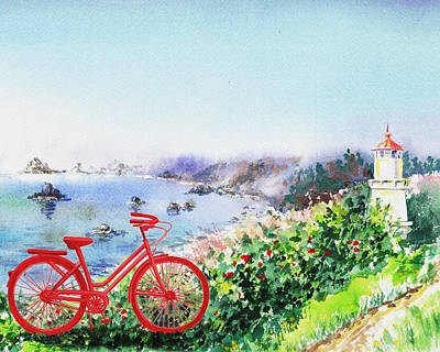 Watercolors Painting - Red Bicycle At The Shore by Irina Sztukowski