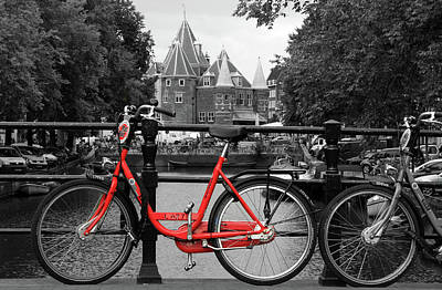 Photograph - Red Bicycle By The Canal by Aidan Moran