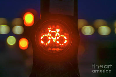 Stop Sign Photograph - Red Bicycle Traffic Light by Patricia Hofmeester