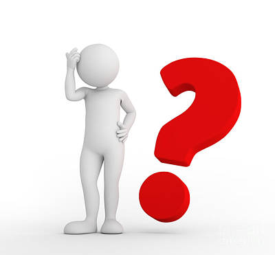 Information Photograph - Red Big Question Mark And Toon Man Thinking. Faq, Ask, Search Concepts by Michal Bednarek
