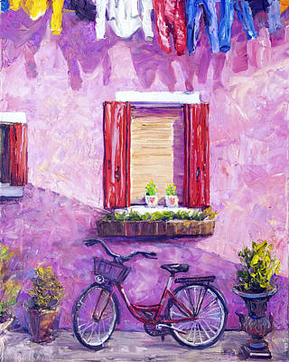 Painting - Red Bike, Burano, Italy by Steven Boone
