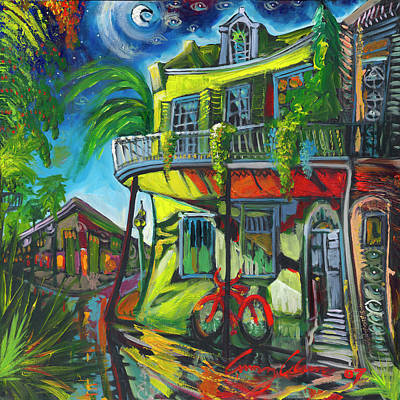 Art Print featuring the painting Red Bike On Royal by Amzie Adams