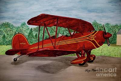 Wall Art - Painting - Red Biplane by Megan Cohen