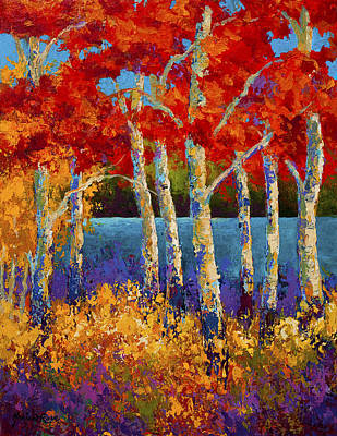 Birch Tree Painting - Red Birches by Marion Rose