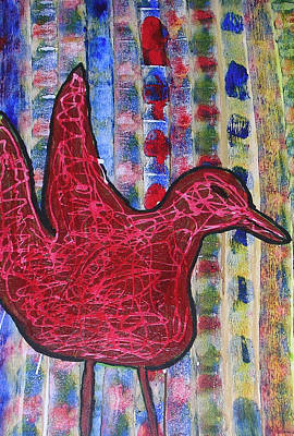 Red Bird 3 Art Print by Russell Simmons