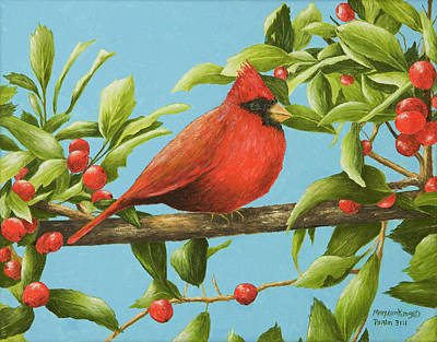 Painting - Red Bird And Holly Berries by Mary Ann King