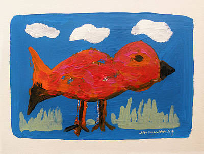 Red Bird In Grass Art Print by John Williams