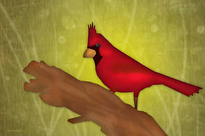 Digital Art - Red Bird by Melisa Meyers