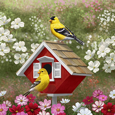 Pink Flower Branch Painting - Red Birdhouse And Goldfinches by Crista Forest