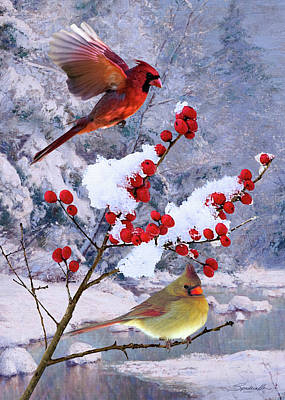 Digital Art - Red Birds Of Christmas by Spadecaller