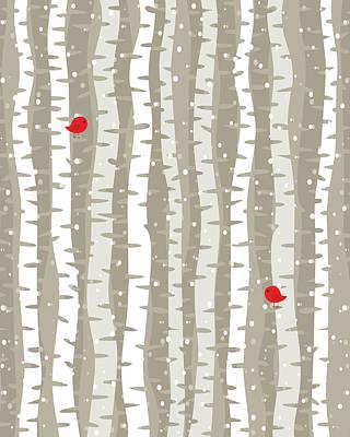 Lovebird Digital Art - Red Birds On Birch by Christine Brodsky