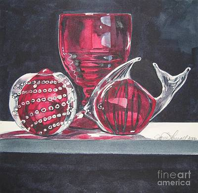 Painting - Red Black And Clear by Jane Loveall