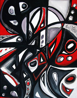 Free Form Painting - Red Black White by Emily Osborne