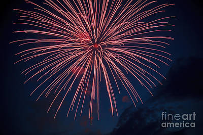 Purple Fireworks Photograph - Red Blast by Robert Bales