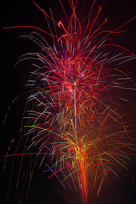 Red Blazing Fireworks Art Print by Garry Gay