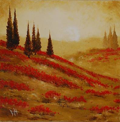 Red Blooms At Dawn Art Print by Debra Houston