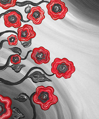 Red Blooms Art Print by Brenda Higginson