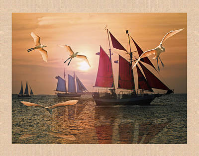 Red  Blue And White Sails At Sunset  Art Print by John Breen