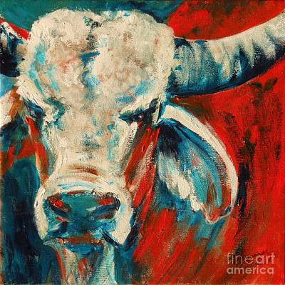 Red-blue Brahma Bull Art Print by Summer Celeste