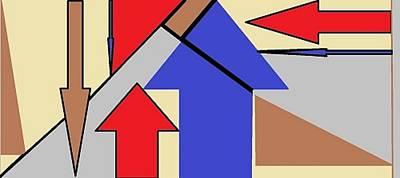 Digital Art - Red, Blue, Grey And Cream 1 by Linda Velasquez