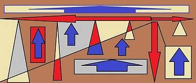 Digital Art - Red, Blue, Grey And Cream 2 by Linda Velasquez