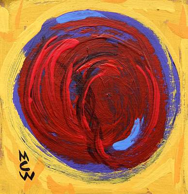Primitive Drawing - Red Blue Moon On Yellow by Mary Carol Williams