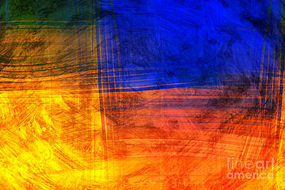 Digital Art - Red Blue Scratch  by Jan Brons