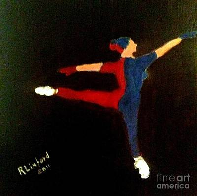 Painting - Red Blue White Ballet Dancer by Richard W Linford