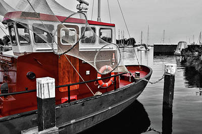 Photograph - Red Boat Anchored by Mihaela Pater