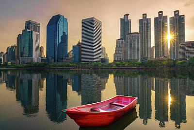 Red Boat And Over Queen Silikit Park In Bangkok Art Print