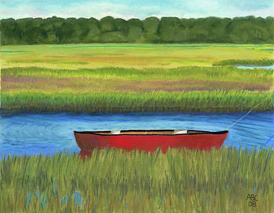 Red Boat - Assateague Channel Art Print