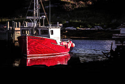 Photograph - Red Boat At Peggy's Cove by Patrick Boening