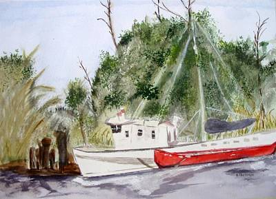 Red Boat Art Print by Barbara Pearston