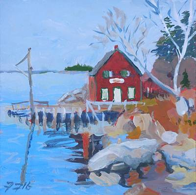 Painting - Red Boat House by Francine Frank